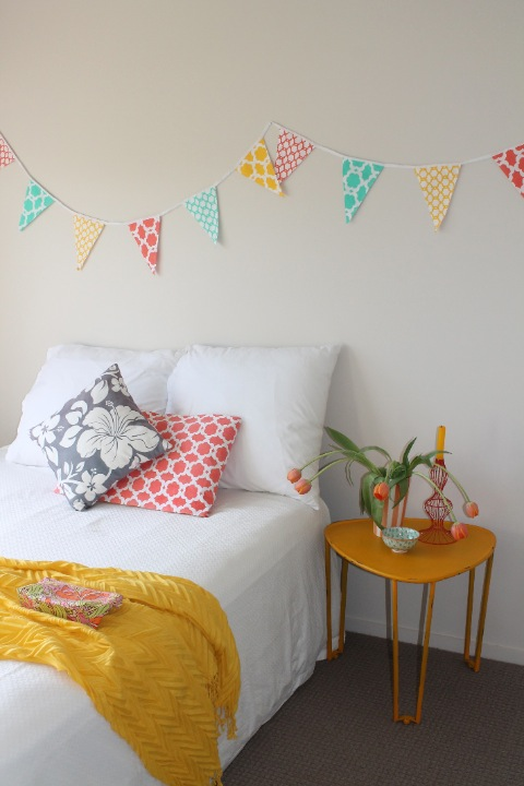 colourful bunting decorating kids bedroom