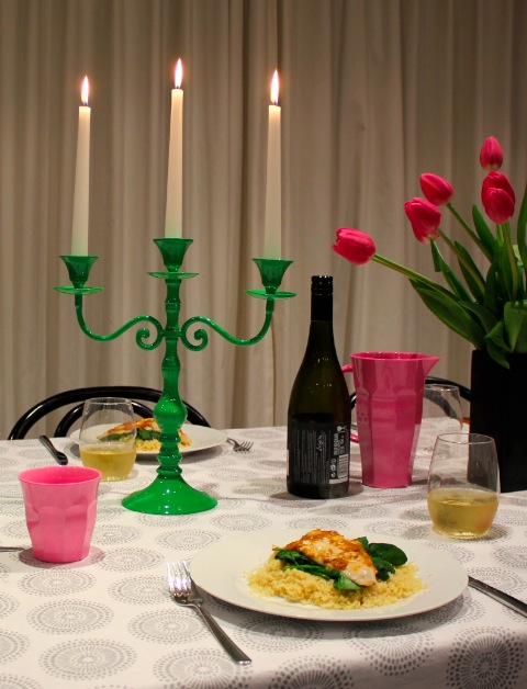 Green candelabra available from recline.co.nz