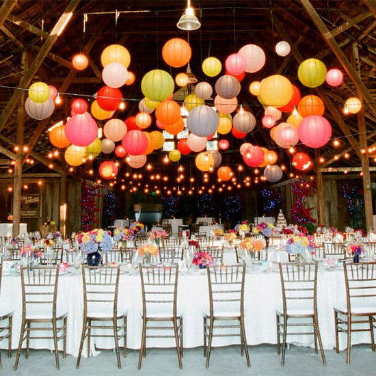 outdoor paper lanterns at wedding create an impact