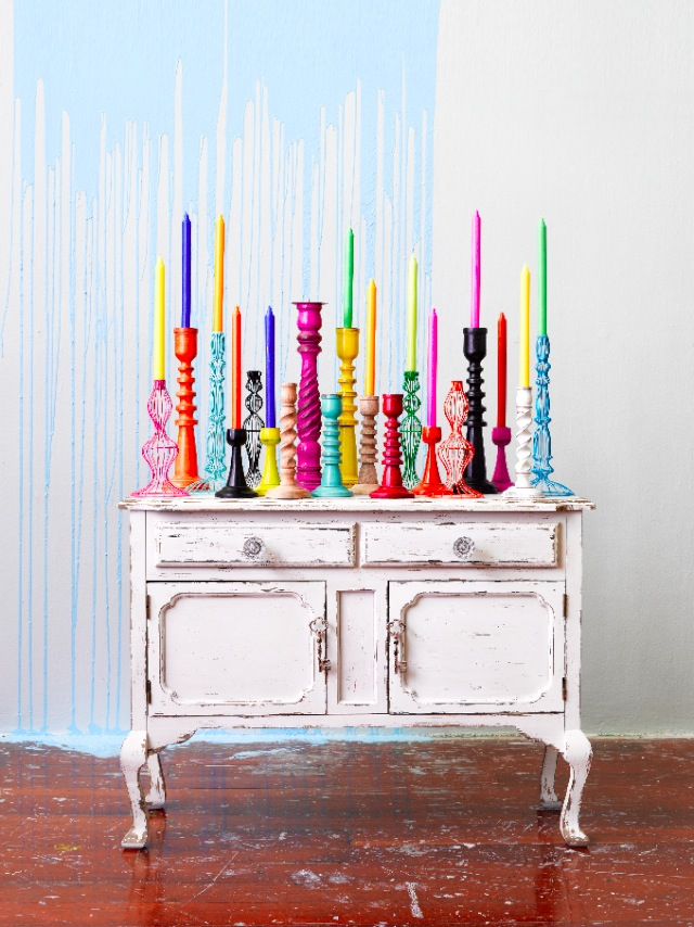 mix coloured candlesticks and candles